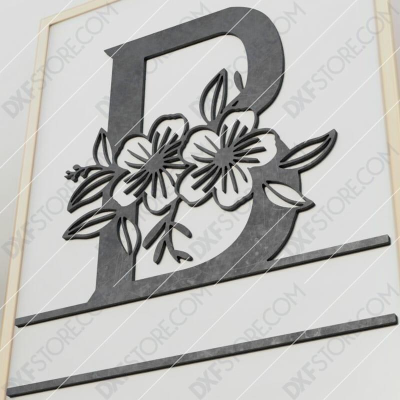 Split Monogram Elegant Floral Split Alphabet Letter B Plasma and Laser Cut for CNC Laser and Plasma Cutter