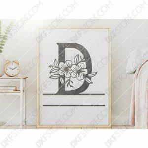 Split Monogram Elegant Floral Split Alphabet Letter D DXF File Downloadable DXF for CNC Plasma DXF Files Download