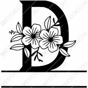Split Monogram Elegant Floral Split Alphabet Letter D DXF File Plasma Art for CNC Plasma Cut Cut-Ready DXF File for CNC
