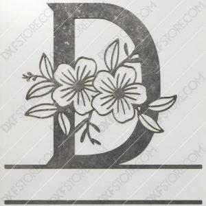 Split Monogram Elegant Floral Split Alphabet Letter D DXF File Plasma and Laser Cut for CNC Laser and Plasma Cutter