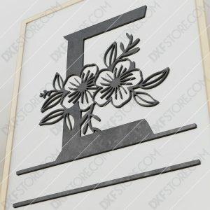 Split Monogram Elegant Floral Split Alphabet Letter E Cut-Ready Plasma Cut DXF File Download for CNC Plasma and Laser Cut