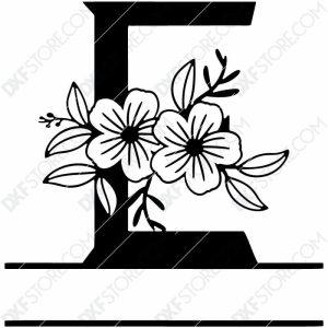 Split Monogram Elegant Floral Split Alphabet Letter E DXF File Plasma Art for CNC Plasma Cut Cut-Ready DXF File for CNC