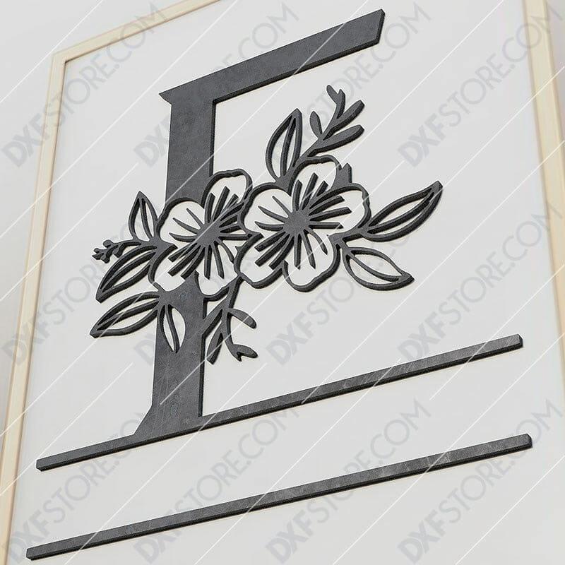 Split Monogram Elegant Floral Split Alphabet Letter F Cut-Ready Plasma Cut DXF File Download for CNC Plasma and Laser Cut