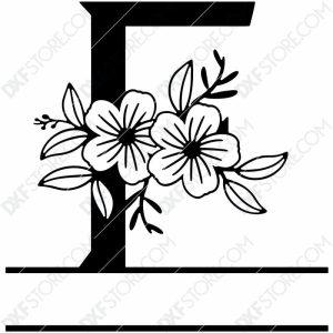 Split Monogram Elegant Floral Split Alphabet Letter F DXF File Download Plasma Art for CNC Plasma Cut Cut-Ready DXF File for CNC