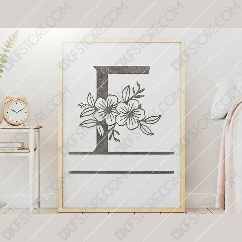 Split Monogram Elegant Floral Split Alphabet Letter F DXF File Plasma and Laser Cut for CNC Laser and Plasma Cutter