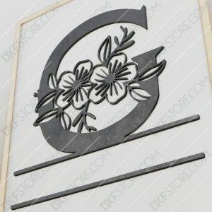 Split Monogram Elegant Floral Split Alphabet Letter G Cut-Ready Plasma Cut DXF File Download for CNC Plasma and Laser Cut