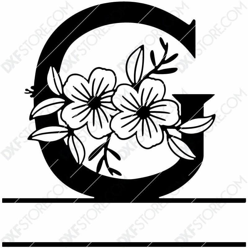 Split Monogram Elegant Floral Split Alphabet Letter G DXF File Download Plasma Art for CNC Plasma Cut Cut-Ready DXF File for CNC