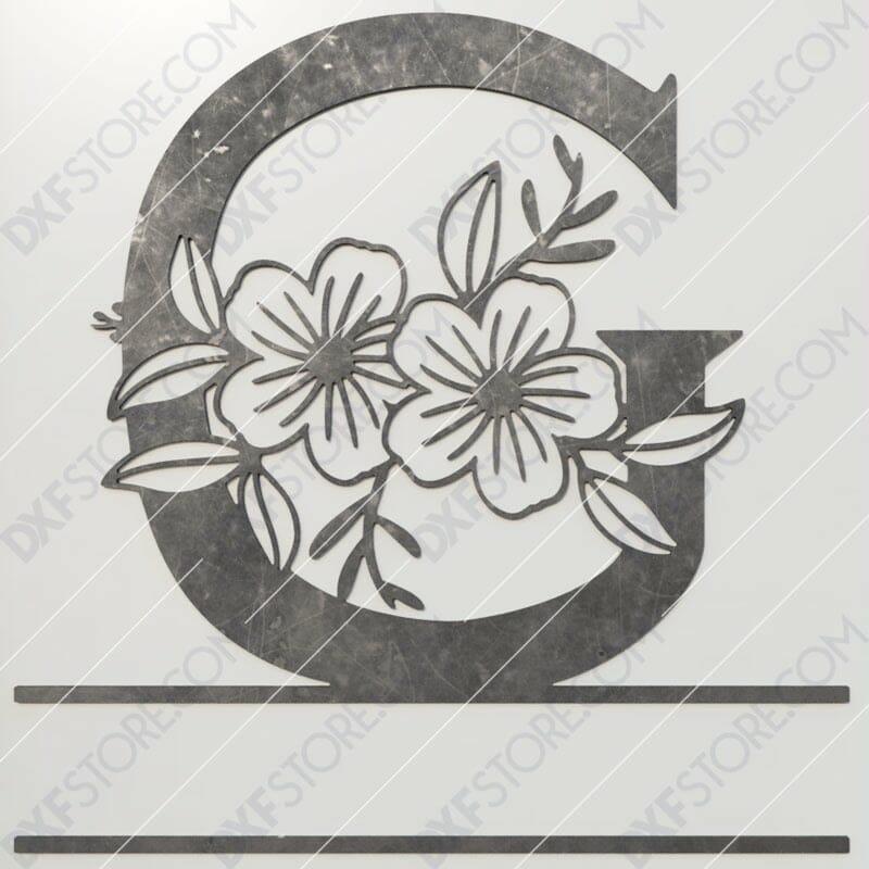 Split Monogram Elegant Floral Split Alphabet Letter G DXF File Plasma and Laser Cut for CNC Laser and Plasma Cutter