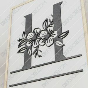 Split Monogram Elegant Floral Split Alphabet Letter H Cut-Ready Plasma Cut DXF File Download for CNC Plasma and Laser Cut