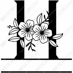 Split Monogram Elegant Floral Split Alphabet Letter H DXF File Download Plasma Art for CNC Plasma Cut Cut-Ready DXF File for CNC