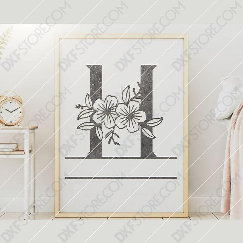Split Monogram Elegant Floral Split Alphabet Letter H DXF File Downloadable DXF for CNC Plasma DXF Files Download