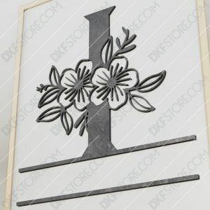 Split Monogram Elegant Floral Split Alphabet Letter I Cut-Ready Plasma Cut DXF File Download for CNC Plasma and Laser Cut