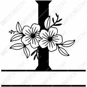 Split Monogram Elegant Floral Split Alphabet Letter I DXF File Download Plasma Art for CNC Plasma Cut Cut-Ready DXF File for CNC