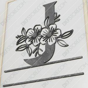 Split Monogram Elegant Floral Split Alphabet Letter J Cut-Ready Plasma Cut DXF File Download for CNC Plasma and Laser Cut