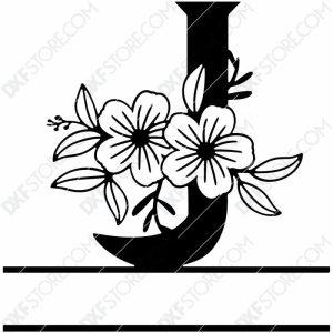 Split Monogram Elegant Floral Split Alphabet Letter J DXF File Download Plasma Art for CNC Plasma Cut Cut-Ready DXF File for CNC