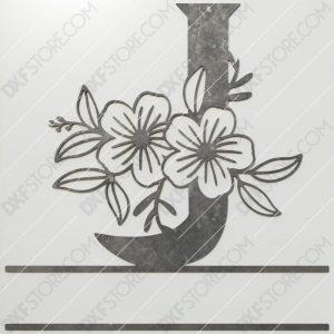 Split Monogram Elegant Floral Split Alphabet Letter J DXF File Plasma and Laser Cut for CNC Laser and Plasma Cut