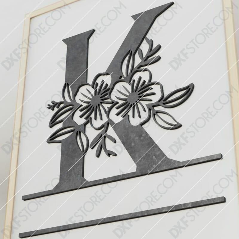 Split Monogram Elegant Floral Split Alphabet Letter K Cut-Ready Plasma Cut DXF File Download for CNC Plasma and Laser Cut