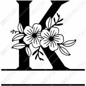 Split Monogram Elegant Floral Split Alphabet Letter K DXF File Download Plasma Art for CNC Plasma Cut Cut-Ready DXF File for CNC