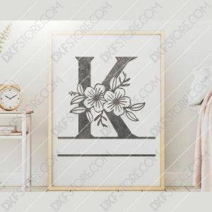 Split Monogram Elegant Floral Split Alphabet Letter K DXF File Downloadable DXF for CNC Plasma DXF Files Download