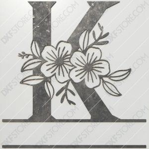 Split Monogram Elegant Floral Split Alphabet Letter K DXF File Plasma and Laser Cut for CNC Laser and Plasma Cut
