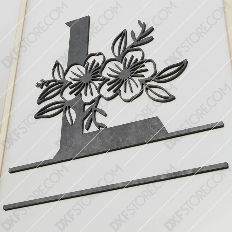 Split Monogram Elegant Floral Split Alphabet Letter L Cut-Ready Plasma Cut DXF File Download for CNC Plasma and Laser Cut