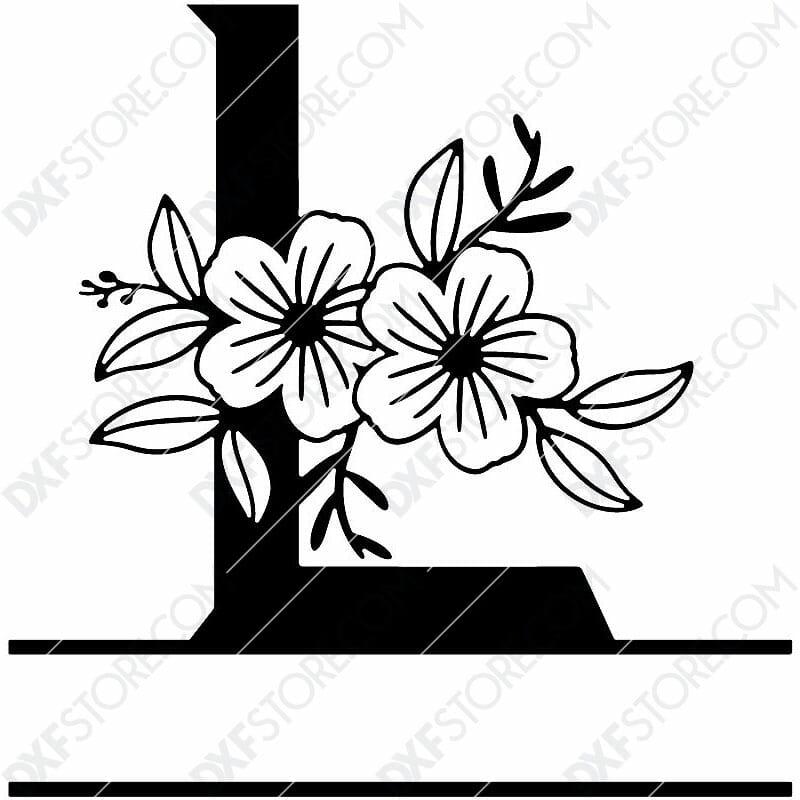 Split Monogram Elegant Floral Split Alphabet Letter L DXF File Download Plasma Art for CNC Plasma Cut Cut-Ready DXF File for CNC