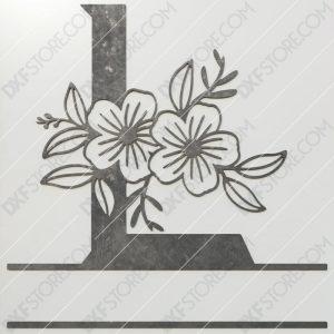 Split Monogram Elegant Floral Split Alphabet Letter L DXF File Plasma and Laser Cut for CNC Laser and Plasma Cut