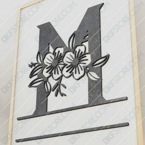 Split Monogram Elegant Floral Split Alphabet Letter M Cut-Ready Plasma Cut DXF File Download for CNC Plasma and Laser Cut