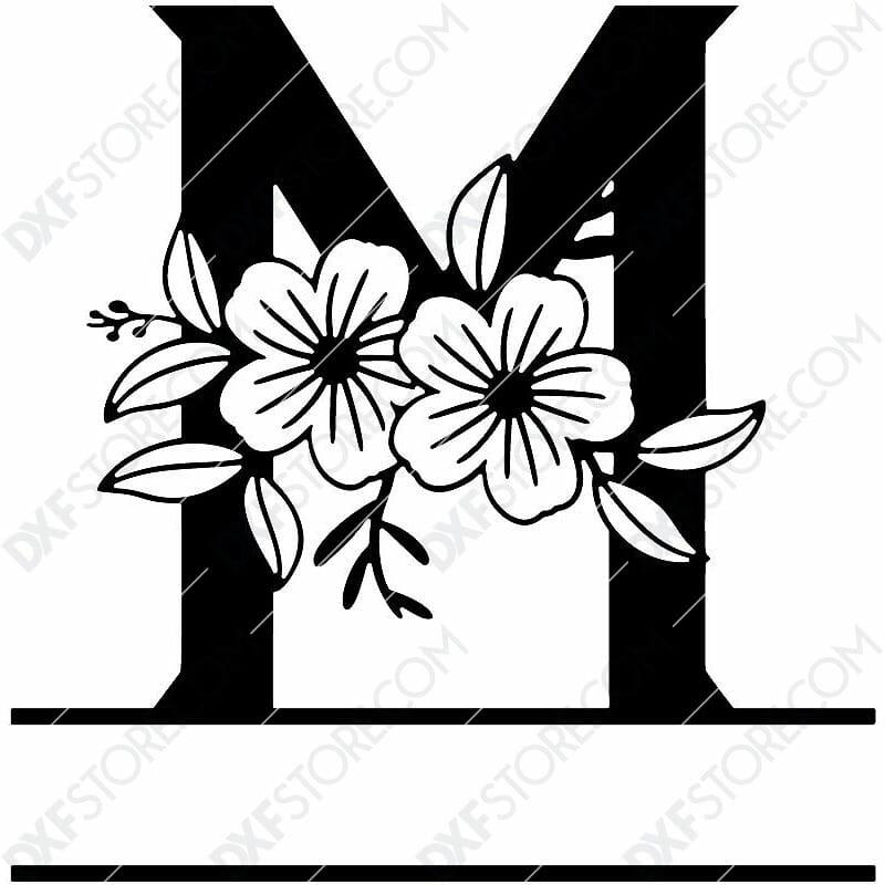 Split Monogram Elegant Floral Split Alphabet Letter M DXF File Download Plasma Art for CNC Plasma Cut Cut-Ready DXF File for CNC