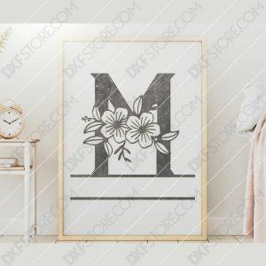 Split Monogram Elegant Floral Split Alphabet Letter M DXF File Downloadable DXF for CNC Plasma DXF Files Download