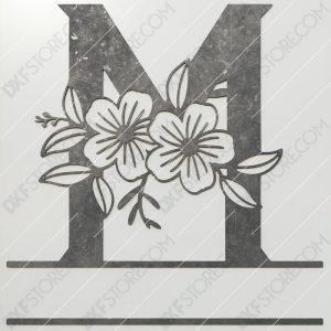 Split Monogram Elegant Floral Split Alphabet Letter M DXF File Plasma and Laser Cut for CNC Laser and Plasma Cut