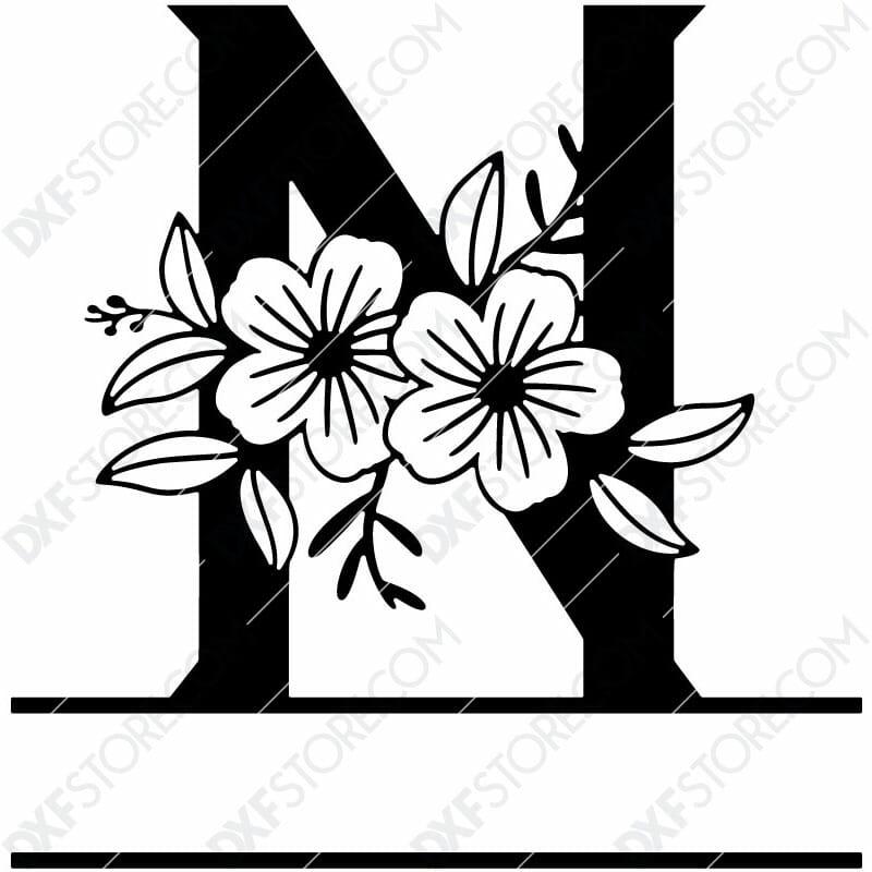 Split Monogram Elegant Floral Split Alphabet Letter N DXF File Download Plasma Art for CNC Plasma Cut Cut-Ready DXF File for CNC