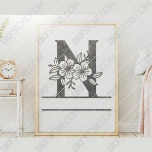 Split Monogram Elegant Floral Split Alphabet Letter N DXF File Downloadable DXF for CNC Plasma DXF Files Download
