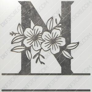 Split Monogram Elegant Floral Split Alphabet Letter N DXF File Plasma and Laser Cut for CNC Laser and Plasma Cut
