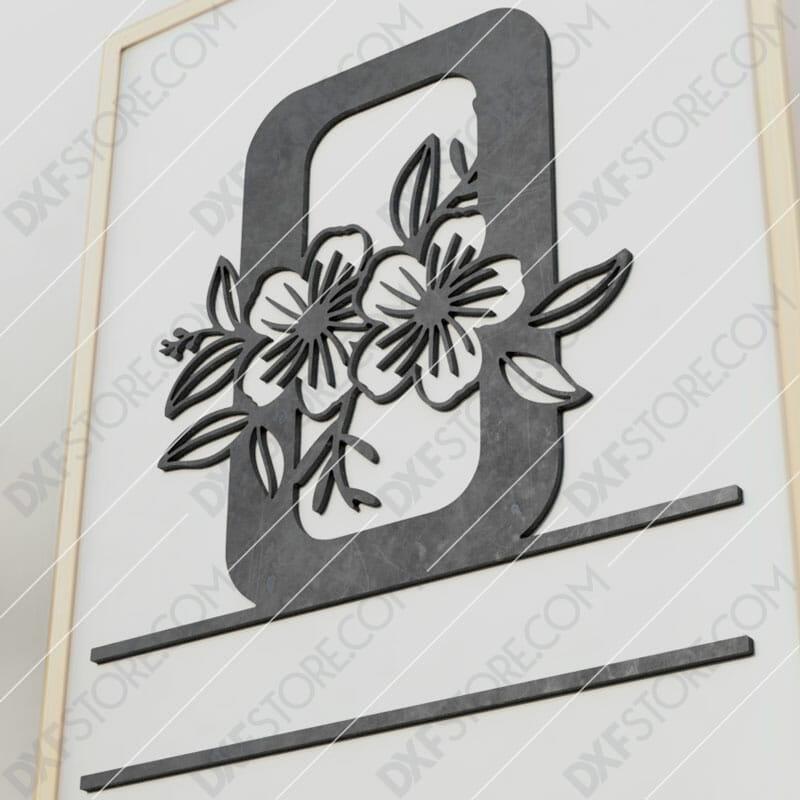 Split Monogram Elegant Floral Split Alphabet Letter O Cut-Ready Plasma Cut DXF File Download for CNC Plasma and Laser Cut