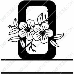 Split Monogram Elegant Floral Split Alphabet Letter O DXF File Download Plasma Art for CNC Plasma Cut Cut-Ready DXF File for CNC