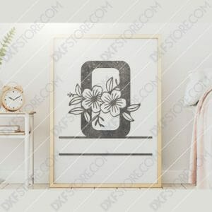 Split Monogram Elegant Floral Split Alphabet Letter O DXF File Downloadable DXF for CNC Plasma DXF Files Download
