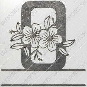 Split Monogram Elegant Floral Split Alphabet Letter O DXF File Plasma and Laser Cut for CNC Laser and Plasma Cut