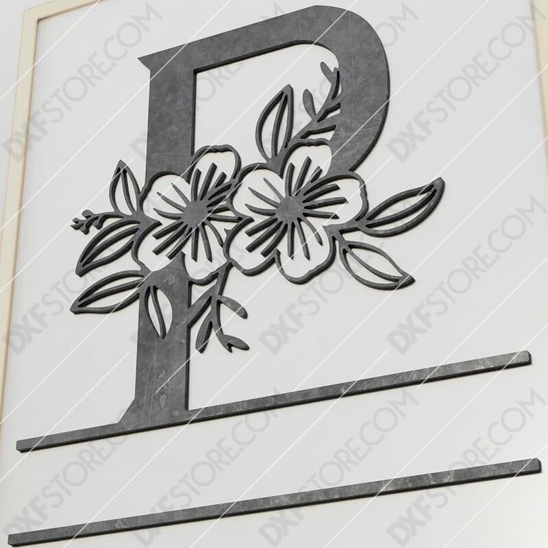 Split Monogram Elegant Floral Split Alphabet Letter P Cut-Ready Plasma Cut DXF File Download for CNC Plasma and Laser Cut
