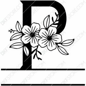 Split Monogram Elegant Floral Split Alphabet Letter P DXF File Download Plasma Art for CNC Plasma Cut Cut-Ready DXF File for CNC