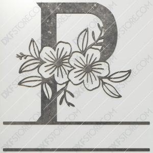 Split Monogram Elegant Floral Split Alphabet Letter P DXF File Plasma and Laser Cut for CNC Laser and Plasma Cut