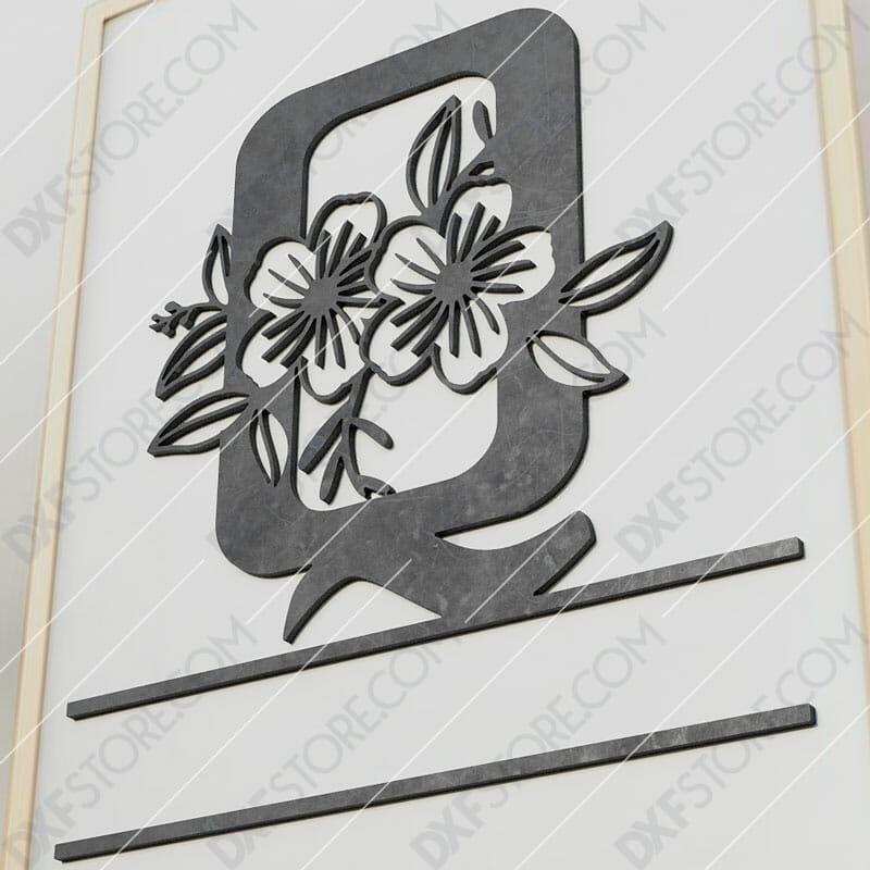 Split Monogram Elegant Floral Split Alphabet Letter Q Cut-Ready Plasma Cut DXF File Download for CNC Plasma and Laser Cut