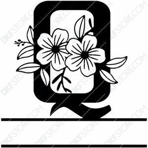 Split Monogram Elegant Floral Split Alphabet Letter Q DXF File Download Plasma Art for CNC Plasma Cut Cut-Ready DXF File for CNC