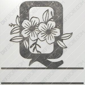 Split Monogram Elegant Floral Split Alphabet Letter Q DXF File Plasma and Laser Cut for CNC Laser and Plasma Cut
