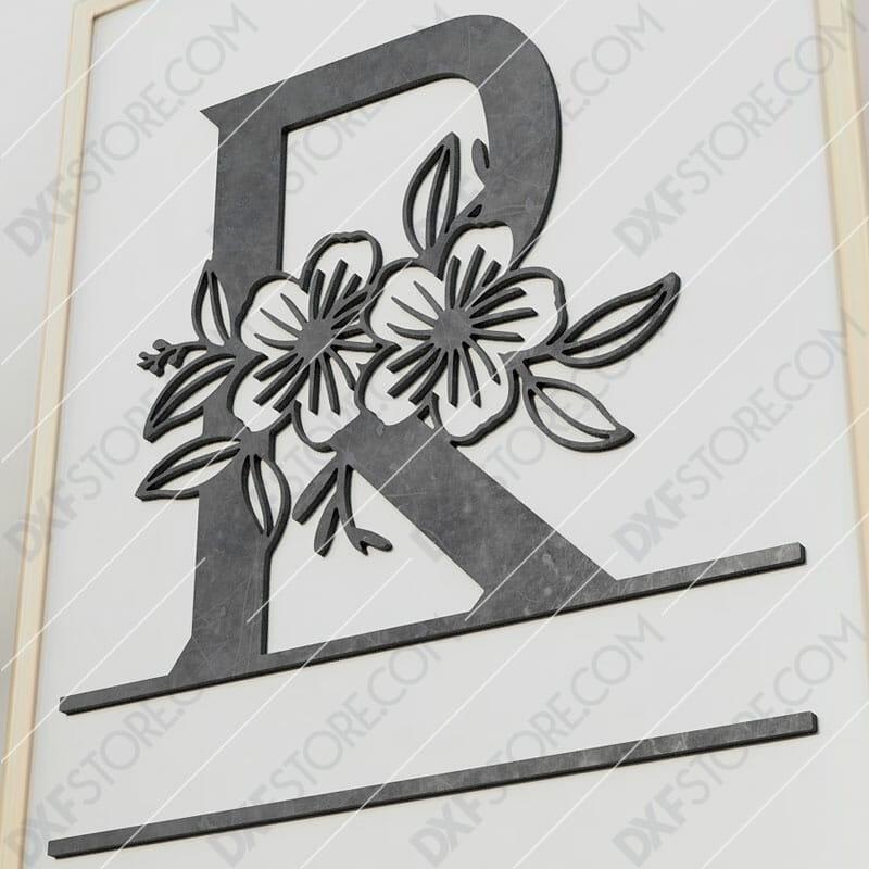 Split Monogram Elegant Floral Split Alphabet Letter R Cut-Ready Plasma Cut DXF File Download for CNC Plasma and Laser Cut