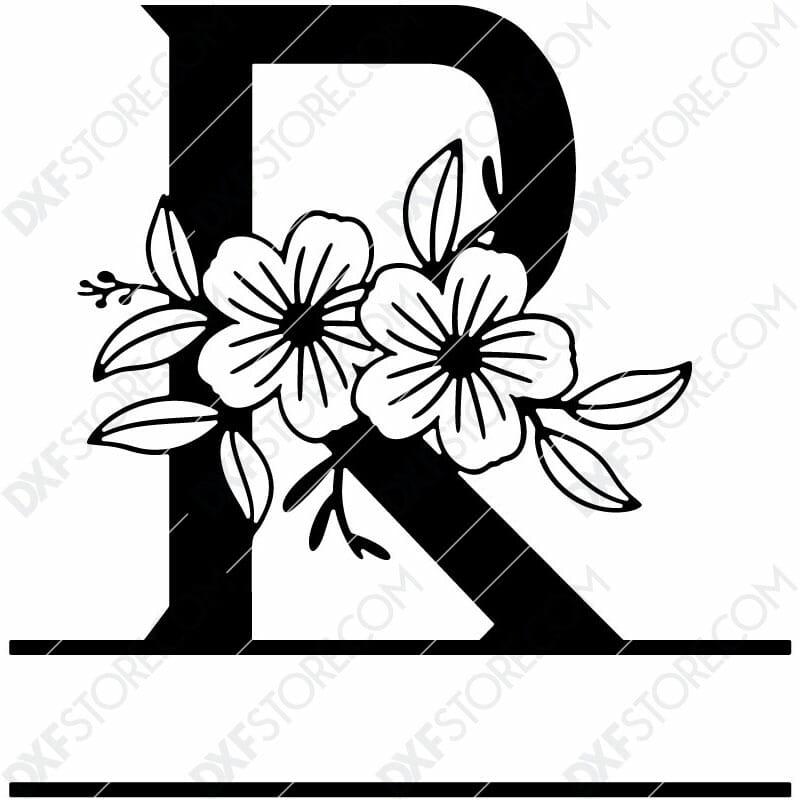 Split Monogram Elegant Floral Split Alphabet Letter R DXF File Download Plasma Art for CNC Plasma Cut Cut-Ready DXF File for CNC