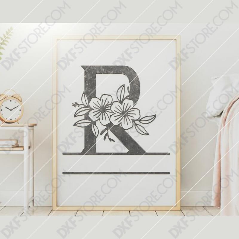 Split Monogram Elegant Floral Split Alphabet Letter R DXF File Downloadable DXF for CNC Plasma DXF Files Download