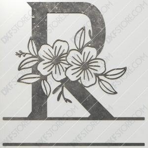 Split Monogram Elegant Floral Split Alphabet Letter R DXF File Plasma and Laser Cut for CNC Laser and Plasma Cut