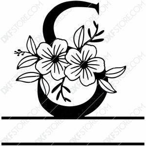 Split Monogram Elegant Floral Split Alphabet Letter S DXF File Download Plasma Art for CNC Plasma Cut Cut-Ready DXF File for CNC