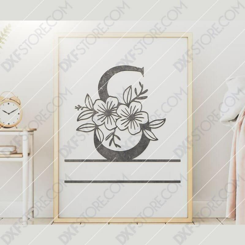 Split Monogram Elegant Floral Split Alphabet Letter S DXF File Downloadable DXF for CNC Plasma DXF Files Download